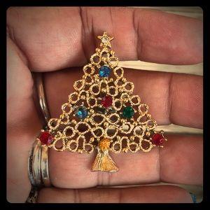Vintage Christmas Tree Brooch Rhinestone